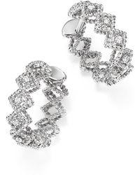 Roberto Coin | 18k White Gold Gold New Barocco Diamond Hoop Earrings | Lyst