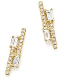 KC Designs - 14k Yellow Gold Diamond Mosaic Double Row Stud Earrings - Lyst