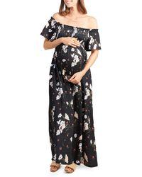 Ingrid & Isabel - Maternity Smocked Off-the-shoulder Maxi Dress - Lyst