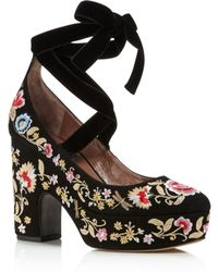 Tabitha Simmons - Sky Embroidered Lace Up Platform Pumps - Lyst