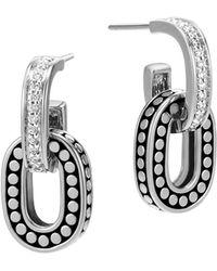 John Hardy - Sterling Silver Dot Drop Earrings With Pavé Diamonds - Lyst