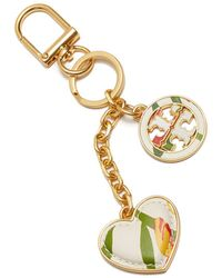 Tory Burch - Printed Logo And Heart Key Chain - Lyst