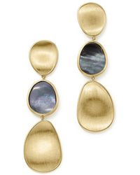 Marco Bicego - 18k Yellow Gold Lunaria Black Mother-of-pearl Triple Drop Earrings - Lyst