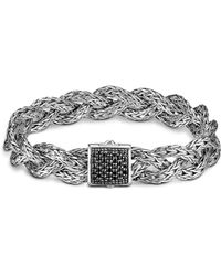 John Hardy - Classic Chain Silver Small Braided Bracelet With Black Sapphire - Lyst