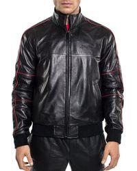 Sean John - Leather Bomber Jacket - Lyst