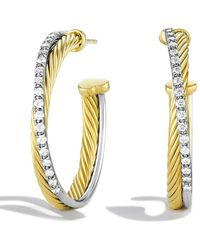 David Yurman - Crossover Medium Hoop Earrings With Diamonds In Gold - Lyst