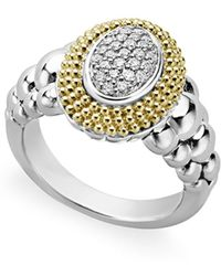 Lagos - 18k Gold And Sterling Silver Diamond Lux Oval Ring - Lyst