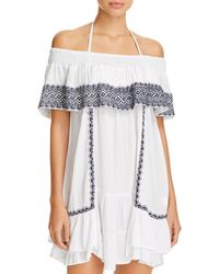 Muche Et Muchette - Gavin Embroidered Off-the-shoulder Ruffle Dress Swim Cover-up - Lyst