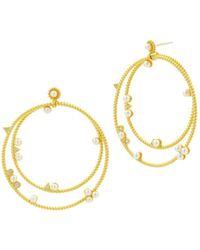 Freida Rothman - Radiance Studded Double Loop Drop Earrings - Lyst