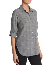 Calvin Klein - Glen Plaid Button Front Top - Lyst