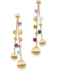 Marco Bicego | 18k Yellow Gold Paradise Teardrop Long Double Strand Gemstone Earrings | Lyst