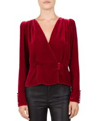1bb1ca0a54a The Kooples Sheer & Lace-detail Top in Red - Lyst