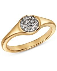 Adina Reyter - 14k Yellow Gold Pavé Diamond Disc Small Signet Ring - Lyst