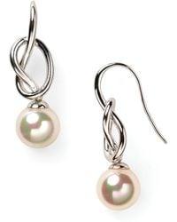Majorica - Knot & Simulated Pearl Drop Earrings - Lyst