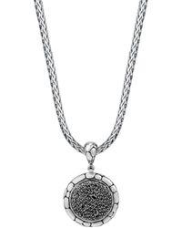 John Hardy - Sterling Silver Kali Lavafire Medium Round Enhancer With Black Sapphires - Lyst