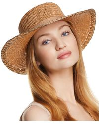 Aqua - Metallic-trim Boater Hat - Lyst