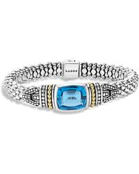 Lagos - 18k Gold And Sterling Silver Caviar Colour Bracelet With Swiss Blue Topaz - Lyst