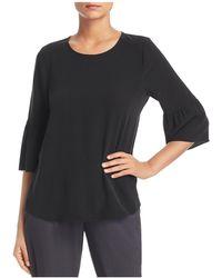 Eileen Fisher - Silk Bell-sleeve Top - Lyst