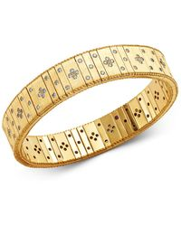 Roberto Coin - 18k Yellow Gold Princess Diamond Double Row Bracelet - Lyst