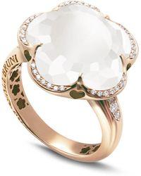 Pasquale Bruni - 18k Rose Gold Bon Ton Floral Milky Quartz & Diamond Ring - Lyst