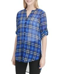 Calvin Klein - High/low Plaid Tunic - Lyst