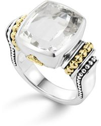 Lagos - 18k Gold And Sterling Silver Caviar Color Medium Ring With White Topaz - Lyst
