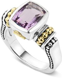 Lagos - 18k Gold And Sterling Silver Caviar Color Small Amethyst Ring - Lyst
