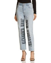 T By Alexander Wang - Cult Logo-embroidered Wide Leg Jeans In Bleach - Lyst
