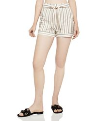BCBGeneration - Striped Paperbag-waist Shorts - Lyst