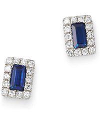 KC Designs - 14k White Gold Mosaic Sapphire Baguette & Diamond Stud Earrings - Lyst