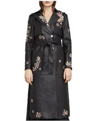 BCBGMAXAZRIA - Alix Embroidered Faux Leather Trench Coat - Lyst