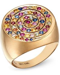 Shebee - 14k Yellow Gold Multicolor Sapphire Spiral Cocktail Ring - Lyst