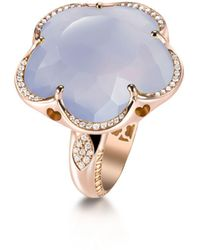 Pasquale Bruni - 18k Rose Gold Floral Ring With Chalcedony And Diamonds - Lyst