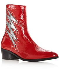 Modern Vice - Women's Bolt Patent Leather Stud Embellished Booties - Lyst