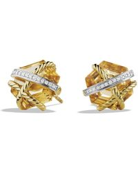 David Yurman - Cable Wrap Earrings With Champagne Citrine & Diamonds In Gold - Lyst