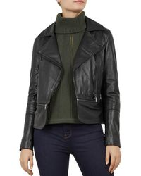 a28451aeb Ted Baker - Yaswin Convertible Leather Biker Jacket - Lyst