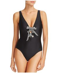 Shoshanna - Shiny Lace Up One Piece Swimsuit - Lyst