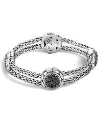 John Hardy - Kali Sterling Silver Pure Lava Fire Four Station Bracelet With Black Sapphire - Lyst