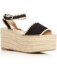 Pour La Victoire - Women's Ria Suede & Raffia Espadrille Platform Wedge Sandals - Lyst