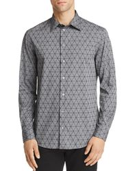 Emporio Armani - Flocked Triangle Regular Fit Button-down Shirt - Lyst