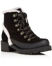 Tory Burch - Women's Cooper Suede And Sheep Fur Lace Up Booties - Lyst