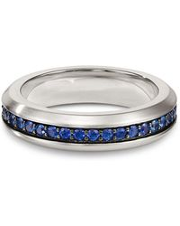 David Yurman - Streamline Band Ring With Sapphires - Lyst