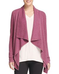 Donna Karan - New York Mixed Media Draped Open Cardigan - Lyst
