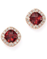 Bloomingdale's - Garnet Cushion Cut And Diamond Stud Earrings In 14k Rose Gold - Lyst