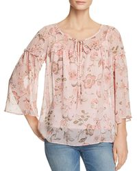 Status By Chenault - Floral Ruffle Trim Peasant Blouse - Lyst