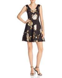 Aqua - Floral Brocade V-neck Dress - Lyst