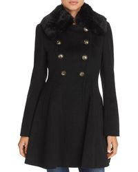 Via Spiga - Double-breasted Faux Fur-trim Coat - Lyst