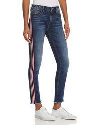 Aqua - Side-stripe Skinny Jeans In Medium Wash - Lyst