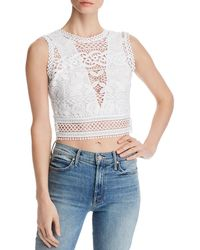 d8be8b97d2822a Lyst - Guess Maxima Embroidered Cold-shoulder Top in Pink