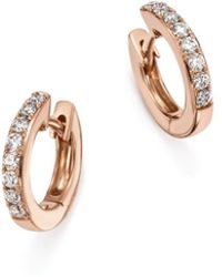 Bloomingdale's - Diamond Mini Hoop Earrings In 14k Rose Gold, .15 Ct. T.w. - Lyst